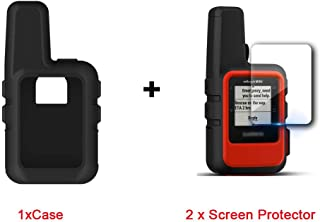 for Garmin inReach Mini Case, Lamshaw Silicone Case with TPU Screen Protector (2 Pack) for Garmin inReach Mini (Black case+ Screen Protector)