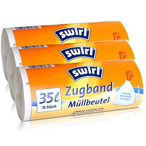 3x Swirl Zugband Müllbeutel 35L (15 stk./Rolle)