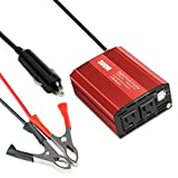 300W Power Inverter DC 12V to 110V AC Converter with 4.8A Dual USB Car Charger Adapter-Red