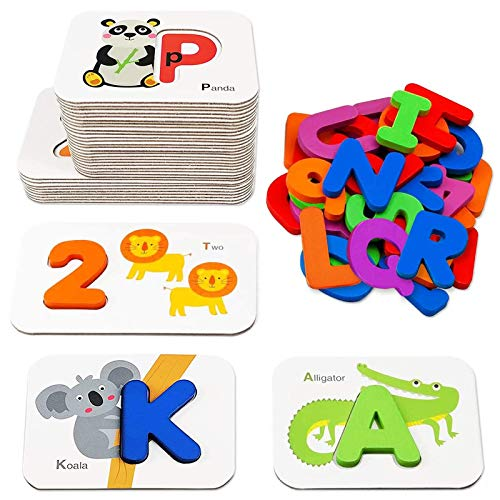 Number and Alphabet Flash Cards for Toddlers 3-5 Years, ABC Montessori Educational Toys Gifts for 3 4 5 year old Preschool Learning Activities Wooden Letters and Numbers Animal Puzzle Flashcards Set