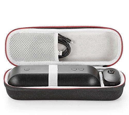 Funda de Transporte Rígido para Apple Dr. Dre Beats Píldora + píldora más Altavoz Bluetooth portátil. Compatible con Cable USB y Cargador de Pared-Negro