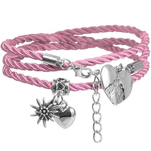 dressforfun 900581 Damen Armband Alpenherz, Herz, Edelweiß, in Länge verstellbar, für Oktoberfest & Trachten Party - Diverse Farben - (Rosa | Nr. 302950)