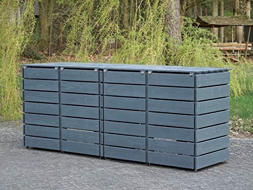 4er Mülltonnenbox / Mülltonnenverkleidung 240 L Holz, Deckend Geölt Tannengrün - 4
