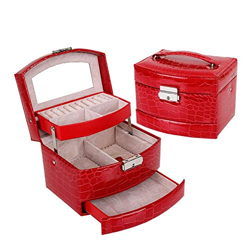 Rysmliuhan Shop Travel Jewellery Case Jeweller Box Personalised Jewellery Boxes Mirrored Jewellery Boxes Trinket Boxes For Women Jewellery Boxes For Girls Red,One Size