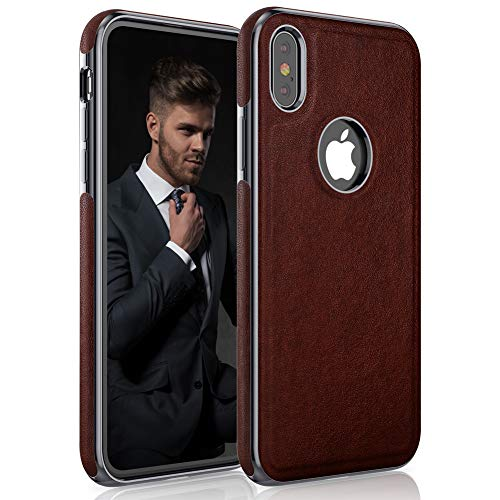 LOHASIC iPhone Xs Case, iPhone X Case Premium Leather Luxury Slim Fit Soft Flexible Hybrid Bumper Rugged Non-Slip Grip Shockproof Anti-Scratch Protective Cover Cases for Apple iPhone X 10 Xs - Brown -  E9Xs-Brown
