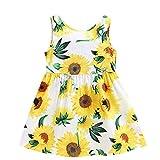 JUTOO Neues Kleinkind-Baby scherzt Mädchen-ärmellose Sonnenblumen-Rock-Prinzessin Dresses Clothes (Weiß 1,110)