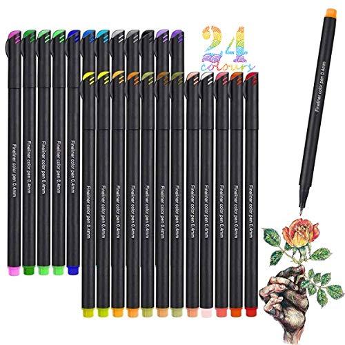 Rotuladores de punta fina, Juego de Bolígrafos de Color Vakki Fineliner Plumas, 0.4 mm Pluma de Punta de fieltro de 24...