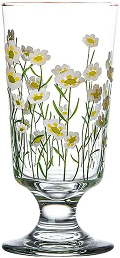 Glass Goblets Vintage Drinking Fees free Cup Tall Sale special price with Daisy F Tulip