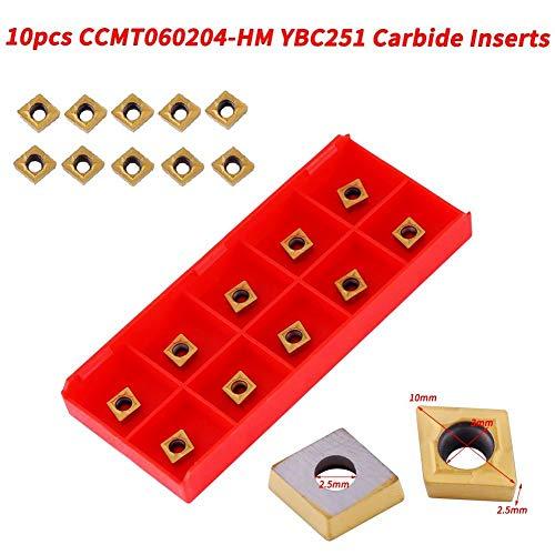 10 inzetstukken met CNC-hardmetalen punten, CCMT060204-HM YBC251 messensnijder draaigereedschap met doos voor de voorbewerking van staal, goud, hoge sterkte, taaiheid, 10 x 6 x 2,5 mm