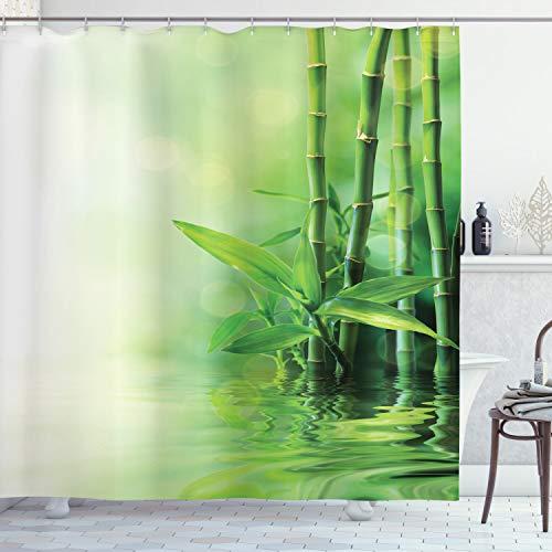 ABAKUHAUS Duschvorhang, Bambus Welche auf Das Wasser Bei Leichten Nebel Reflektiert die Den Japanischen Den Spa Abbild, Blickdicht aus Stoff mit 12 Ringen Waschbar Langhaltig Hochwertig, 175 X 200 cm