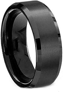 خاتم أسود تيتانيوم ستانلي ستيل مقاس أمريكي 6