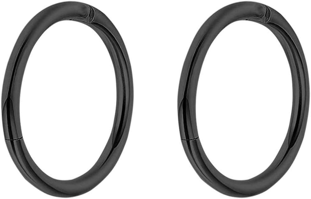 Pierce2GO 16G 2 Pcs Stainless Steel Hinged Nose Ring Hoop 3/8