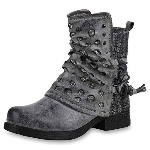 SCARPE VITA Damen Stiefeletten Biker Boots Leicht Gefütterte Schuhe Glitzer 169168 Grau Leicht Gefüttert 36