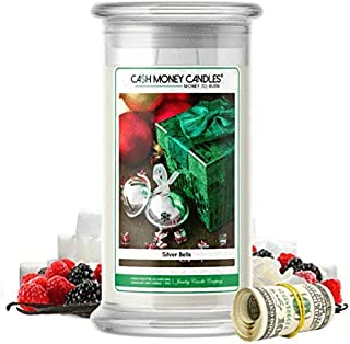 💵 Cash Money Candles | $2-$2500 Inside | Guaranteed Rare $2 Bill | Large Long-Lasting 21oz Jar All Natural Soy Candle | Hand Poured Made in The USA Family Owned (Silver Bells)