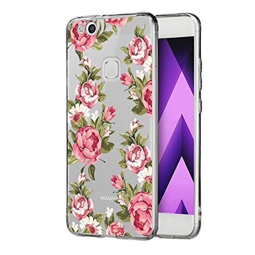 KeKeYM Taschen für Hua wei P8 Lite 2016, Floral Protective Crystal Clear Weiche Flexible TPU Silikonhülle Stoßfest Gel Grip Cases - Rosa Blumen