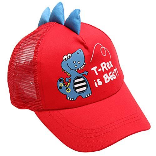 KESYOO Kinder Mesh Baseball Hut Dinosaurier Baseball Mütze Sommer Sonne Schatten Hut Breite Krempe UV Licht Hut für Kinder Rot