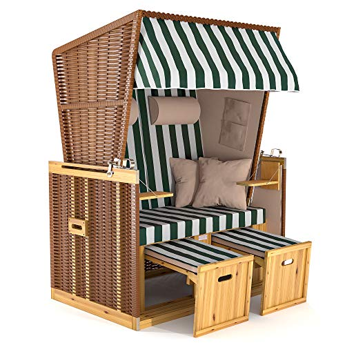 SANZARO Strandkorb XL 120 cm Deluxe Zweisitzer | Holz und Poly-Rattan | Sylt Ostsee Volllieger | inkl. 4 Kissen klappbare Rückenlehne | Grün-Weiss Blockstreifen