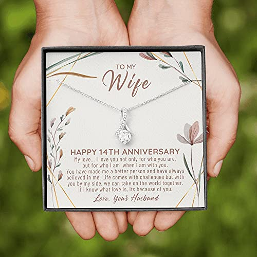 14 Year Anniversary Gift Ideas, 14th Anniversary Gift For Her, 14 Year Wedding Anniversary Gift For Wife, 14th Anniversary Gifts, Gift Jewelry, Necklacewith Message Card and Gift Box
