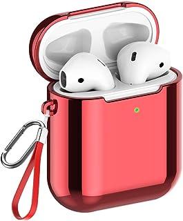 【改良版】AirPods ケース Apple AirPods 第1/2世代に適用【前のLEDライトが見える】メッキTPU素材 ソフト エアーポッズ用ケース ストラップとカラビナ付き 全面保護カバー 脱着簡単 着装まま充電可能 ワイヤレス充電可能...