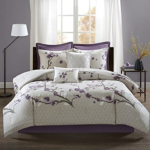 Madison Park Cozy Comforter Nature Scenery Design All Season, Matching Bed Skirt, Decorative Pillows, Queen, Purple 8 Piece