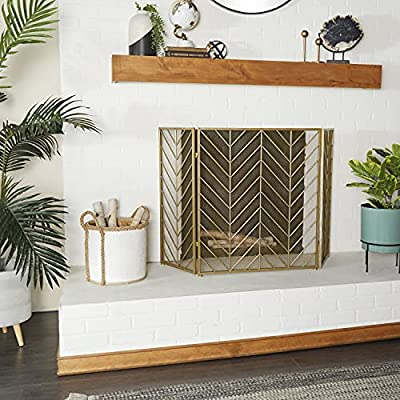 "Deco 79 Tall Silver & Gold Decorative Fireplace Screen w/ Herringbone Pattern, Modern Style Fire Screen, Gold Fireplace Screen Living Room Decor | 52"" x 31"" from Deco 79"
