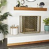 "Deco 79 Tall Silver & Gold Decorative Fireplace Screen w/ Herringbone Pattern, Modern Style Fire Screen, Gold Fireplace Screen Living Room Decor   52"" x 31"""