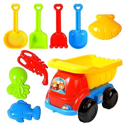 Juguetes Set de Playa para niños - 9 Piezas Accesorios con Carro de Cuatro Ruedas,Palas de Arena y 4 Juguetes para Animales,Juguetes acuáticos,Carrito con Juguete de Arena (A)