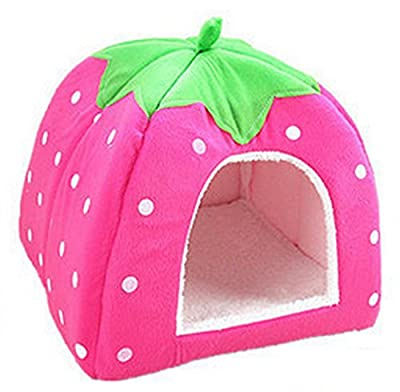 Scrox 1Pcs Pet House Lovely Strawberry Foldable Soft Puppy Kitten House Warm Cozy Pet Nest Bed Cushion Basket Bed for Pet Supply size 24 * 24 * 26cm (Pink,S) from Scrox
