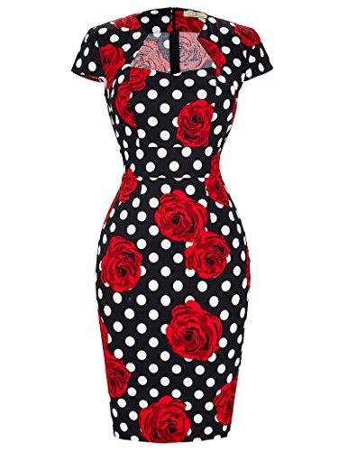 GRACE KARIN Femme Robe Crayon Vintage Pin Up à Fleurs Rouges Manche Courte Taille M CL7597-11