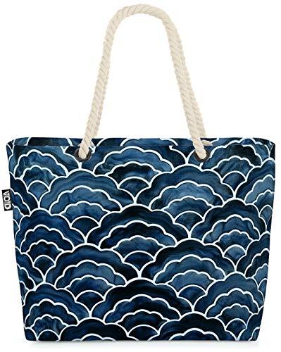 VOID Olas japonesas Bolsa de Playa 58x38x16cm 23L Shopper Bolsa de Viaje Compras Beach Bag Bolso