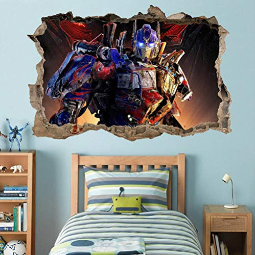 SOLYY Wandtattoos Optimus Transformers 3D Loch Wandaufkleber Aufkleber Diy Wandbild Kind