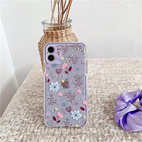 LIUYAWEI Funda con Forma de Hoja de Flores para iPhone 11 11 Pro MAX 8 7 Plus X XS MAX XR SE 2020 Carcasa Trasera de Parachoques de TPU Suave Transparente Linda, T1, para iPhone SE 2020
