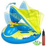 Gifort Flotador Bebé Piscina, Barco Niños Flotador Hinchable con Toldo Ajustable y Volante, Anillo de Natación Playa Baby Float para Bebé de 12 a 48 Meses, 70cm x 60cm