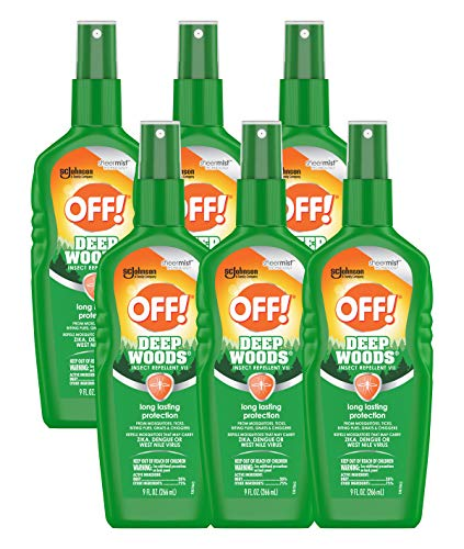 OFF! Deep Woods Insect Repellent VII, Long Lasting Protection from Mosquitoes, Ticks, Biting Flies, Gnats & Chiggers, 9 FL OZ Pump Spray Bottle (Pack of 6)