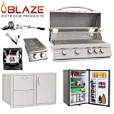 Blaze LTE 4-Burner 32' Propane Grill with Refrigerator, Double Side Burner, Door and Drawer Combo, Rotisserie Kit, Grill Cover & 5in1 BBQ Tool