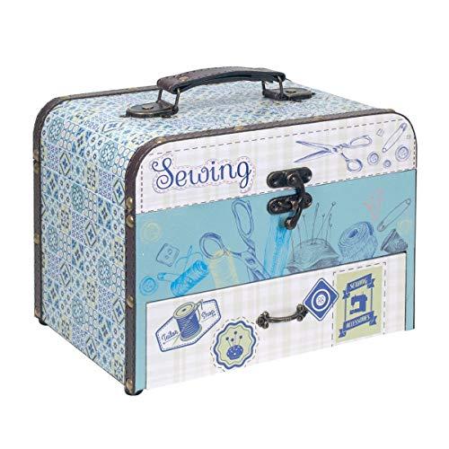 """Caja Costura Decorativa con Set de Costura""""Sewing"""". Costureros. Cajas Multiusos. Regalos Originales. Decoración Hogar. 20 x 25.5 x 18 cm."""