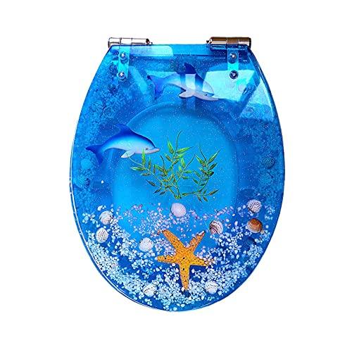 WEITONG Sedile WC Forma O in Resina, Copriwater Imbottito da 1.5 CM, Tavoletta WC Universale U/V/O, Chiusura Lenta con Cerniere Regolabili A 360 °, Tema Oceano