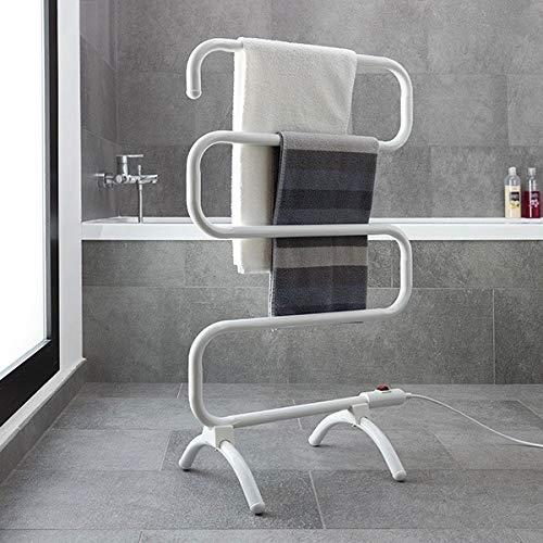 Modezvous Elektrische handdoekverwarming, radiator, handdoekhouder op voet of muur, laag verbruik, 100 W, temperatuur 50 °C, waterbestendig, IPX4-5 stangen, 53 x 90 x 30 cm, wit