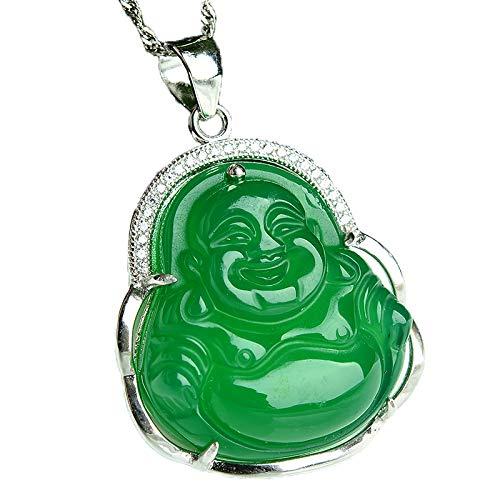 ZHIBO - Collar de plata de ley 925 con colgante de Buda de calcedonia verde natural para mujer
