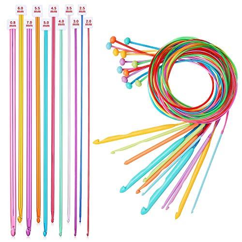 Haudang Juego de 23 agujas tunecinas HHKel con cable de plástico, aguja...