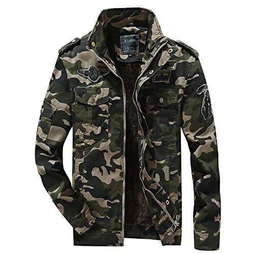 YJWSPD Chaqueta de moda Chaqueta de otoño para hombre Chaqueta casual de manga larga delgada de invierno Chaqueta casual de camuflaje talla grande para hombre-Army Green_L