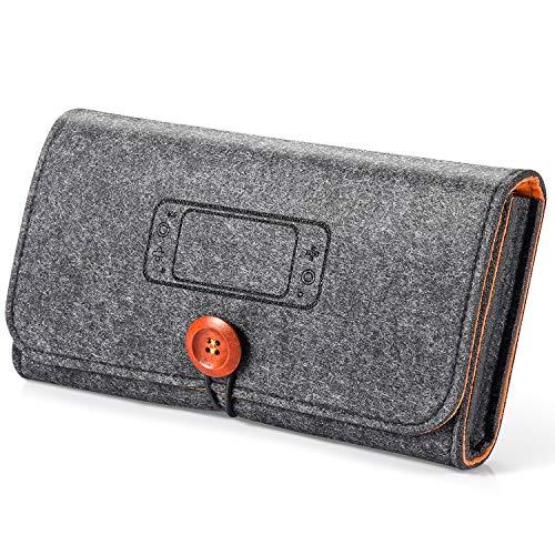 Nintendo Switch Lite ケース 任天堂 ニンテンドースイッチライト 収納バッグ 保護カバー ゲームカード8枚 持ち運び便利 耐衝撃 全面保護 フエルト製