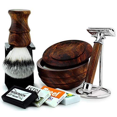Holz Nassrasier-Set für Ihn Sicherheitsrasierer Rasierpinsel synthetische Borsten Halter Schüssel und Seife Wird mit 1 Packung mit 5 Klingen geliefert