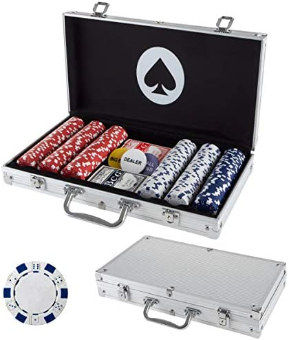 Poker Chip Set for Texas Holdem Blackjack Gambling with Carrying Case Cards Buttons and Dice product image