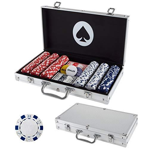 Conjunto de fichas de pôquer para Texas Holdem, Blackjack, jogos com estojo de transporte, cartões, botões e fichas de cassino estilo dados (11,5 gramas) da Trademark Poker