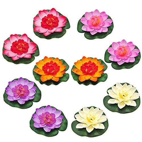 Laghetto da Giardino Piante Artificiali Fior di Loto Romantic Impermeabile per Casa Acquario Nozze 10cm-10 pezzi