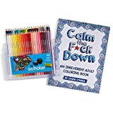 Calm the Fck Down: An Irreverent Adult Coloring Book and Prismacolor Scholar Colored Pencils, Set of 48 Assorted Colors