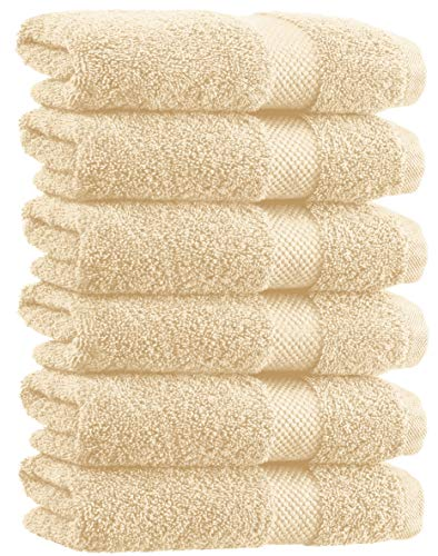 White Classic Luxury Hand Towels | Cotton Hotel spa Bathroom Towel | 16x30 | 6 Pack | Beige