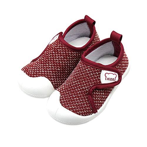 DEBAIJIA Zapatos para Niños 1-4T Bebés Caminata Zapatillas Niñas Ligeras TPR Material Malla Antideslizante 23/24 EU Rojo (Tamaño Etiqueta 20)