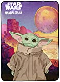 Star Wars The Mandalorian The Child Baby Yoda First Meeting Blanket - Measures 62 x 90 inches, Kids Bedding - Fade Resistant Super Soft Fleece - (Official Star Wars Product)
